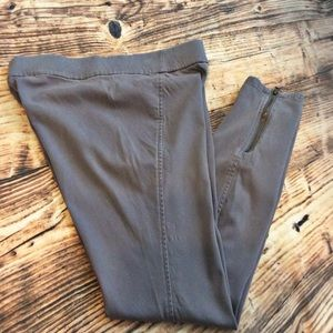 🔴 Gray Cotton Twill Pull-on Leggings w/ Ankle Zip